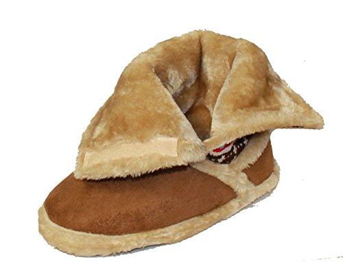Coolers - Pantofole a stivaletto, ripiegabili, chiusura in velcro, foderate in pelliccia, misura 36-42.5 Marrone (beige)