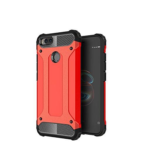 AOBOK Funda Xiaomi Mi A1, Doble Capa Híbrida Armor Funda Shock-Absorción Armadura Proteccion Carcasa para Xiaomi Mi A1 Case (Rojo)