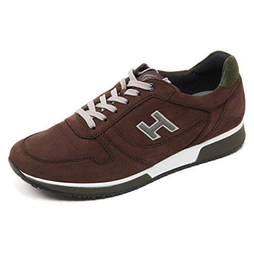 B7112 sneaker uomo HOGAN H198 SLASH scarpa H flock marrone shoe man Marrone