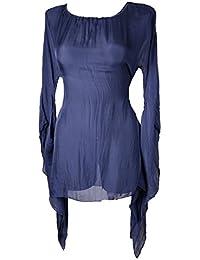 Seiden Bluse Tunika lang Shirt Fledermaus-Ärmel Lagenlook 38 40 42 Seide Italy