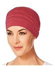 Gorro Yoga con bambú de color rojo amapola para mujeres en tratamiento de quimioterapia