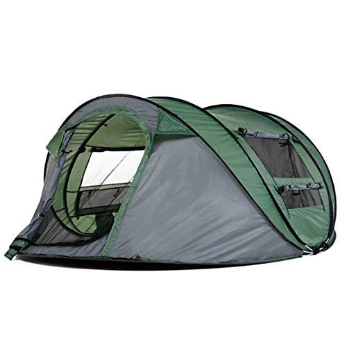 JULYFELICIA Julyficia Campingzelt für 3-4 Personen, 4 Jahreszeiten, Rucksackreisen, automatisches Pop-Up-Zelt für Outdoor-Sportarten, Militärgrün grün