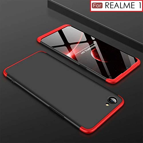 cheap for discount d141d f1ab7 Delkart GKK 3 in 1 360 Degree Full Front & Back Protection Luxury  Electroplated Ultra Slim Shield Phone Case Cover for Oppo Realme 1 (Red and  Black)
