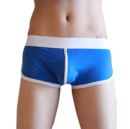 UJUNAOR Herren Sportswear Retro Shorts Hipster Fitted Enganliegend Gummibund Boxer Briefs Shorts(Blau,EU M/CN XL)