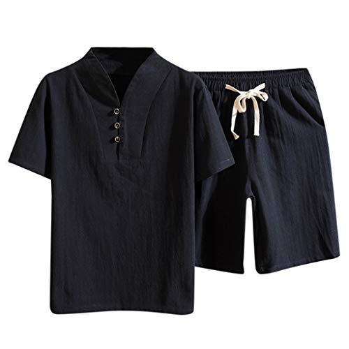 Setsail Herren Modischer Sets Baumwolle und Leinen Kurzarm Shorts Set Anzug Trainingsanzug -