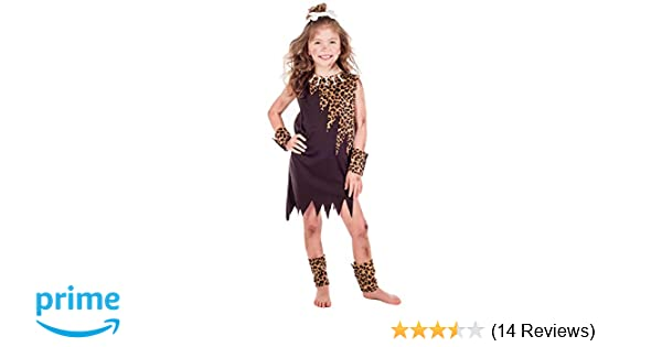 amscan 9904487 Little Cave Girl Costume Set 4-6 Years-5 Pcs