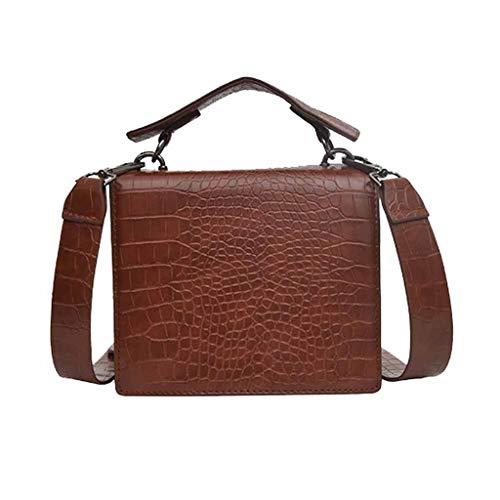 Lazzboy Schulter Bag Frauen-Weinlese-Krokodil-Muster-Matthandtasche Geschlungene Kleine Quadratische Tasche(Braun)