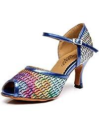 JSHOE Salsa Tango Para Mujer Zapatos De Baile Latino Zapatos De Fiesta Dance Sandalias Tacones Altos,Blue-heeled7.5cm-UK3.5...