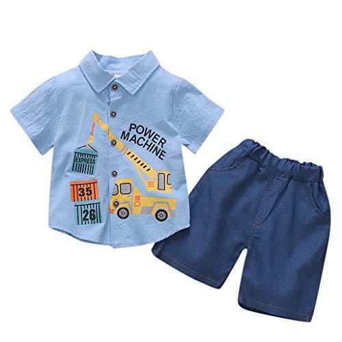 wuayi  Baby Jungen Kleidung Set, Kinder Jungen Crane Print Kurzarm Shirt Shorts T-Shirt Tops Hosen Kurze Hose Outfits 6 Monate - 3 Jahre