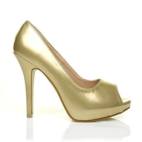 TIA Gold Metallic PU Leather Stiletto Very High Heel Platform Peep Toe Shoes Size UK 4 EU 37