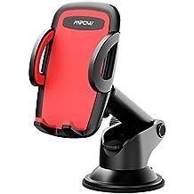 Mpow Soporte Móvil Coche para Salpicadero, Soporte de Teléfonos Universal con Brazo Largo Telescópico y Ventosa de Gel Fuerte, Botón de Liberación Rápida para iPhone, Galaxy, Nexus y Otros Movíles GPS Navegador
