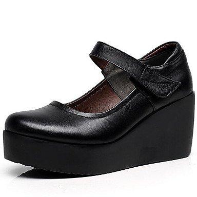 LvYuan-ggx Women's Heels Basic Pump Leather Spring Fall Office & Career Basic Pump Wedge Heel Black 3in-3 3/4in , black , us4-4.5 / eu34 / uk2-2.5 / cn33