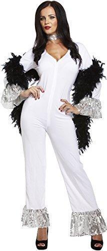 Kostüm Dancing Queen Abba - Damen 1970s 70s Jahre Dancing Queen weiß Overall Abba Kostüm Kleid Outfit