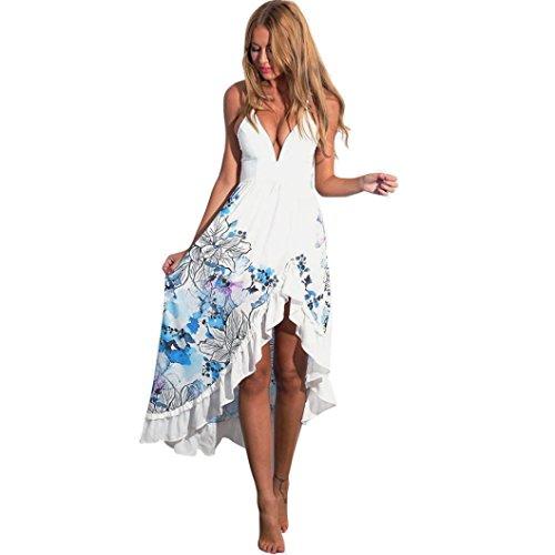Kleid Damen,Binggong Sexy Frauen Sommer Boho Long Maxi Party Cocktailkleid Freizeit Strand Sommerkleid Saumgeteiltes Blumenmuster Kleid (Sexy Weiß, L)