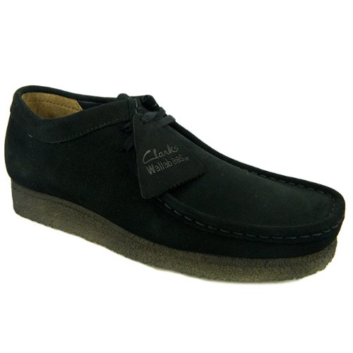 clarks-originals-suede-leather-wallabee-mens-shoes-10-uk-black-suede-