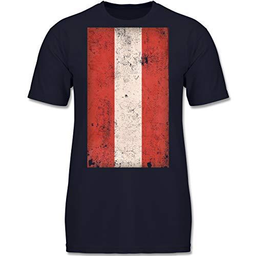 Städte & Länder Kind - Österreich Flagge Vintage - 164 (14-15 Jahre) - Dunkelblau - F130K - Jungen Kinder T-Shirt