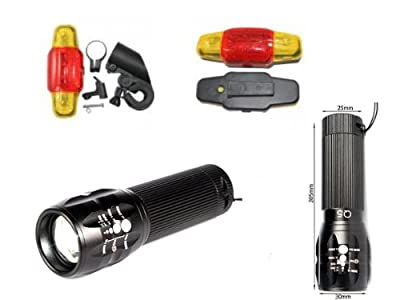 Fahrrad Beleuchtung Set - High Power CREE LED Q5 ZOOM (360 Lumen) - Taschenlampe mit stufenlosem Zoom + Rücklicht