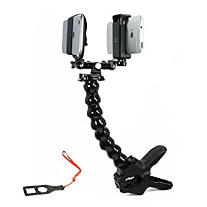 Action Mount® - Dual Device Jaws Clampa Setup for Video Recording with 2 Phones, 2 GoPros, or Point-and-Shoot Camera. Any Device, Multiple Orientations. (2 Device Jaws Clamp)
