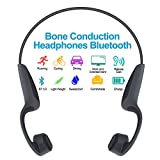 GlobalCrown Auriculares conducción ósea Bluetooth,Inalámbricos Auriculares de conducción ósea de Manos Libres con micrófono para Deportes Ciclismo Correr Gimnasio (5 Horas de Tiempo de reproducción)