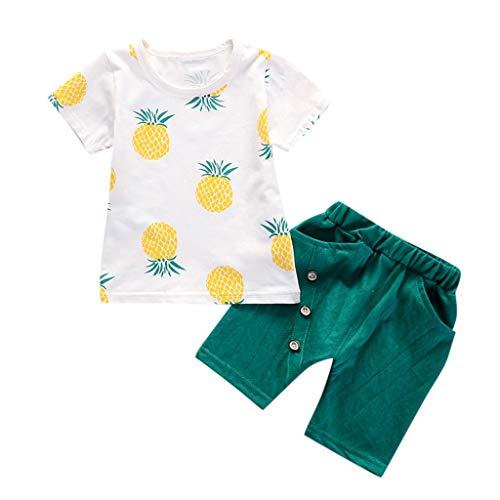 Kleinkind Baby Kinder Jungen Ananas-T-Shirt Tops Solid Short Sommer Urlaub Strand Casual Fashion Lovely Outfit Set Gr. 80 cm/S, grün (Mix-outfits Little)