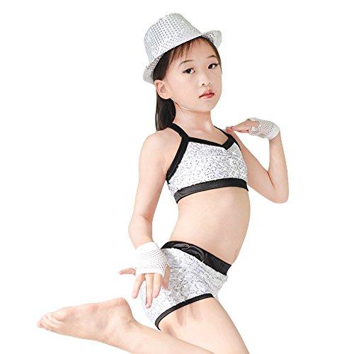 MiDee 2 Stücke Voller Pailletten Tanz Kostüm Crop Tops Hip Hop Biketard Gym Uniform (Weiß, PA)
