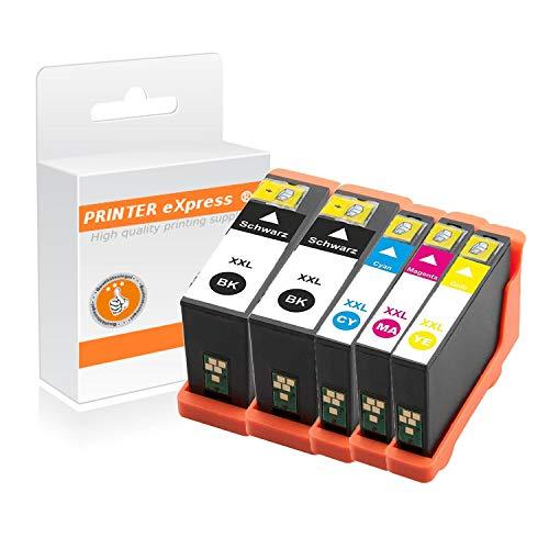 Printer-Express XL Patronen 5er Set ersetzt Dell 31, 32, 33, 34 Kartusche für Dell V525 V725 / V525W V725W Drucker mit Chip (Dell V525)