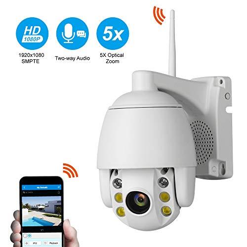 SSCJ Full HD 1080P PTZ IP-Dome-Kamera 5fach optischer Zoom, 2,0 MP Wasserdichte Outdoor-Hochgeschwindigkeits-WiFi-Überwachungskamera mit Bewegungserkennung 2-Wege-Audio-Nachtsicht bis zu 50 m,5XZoom - Dvr Ptz Mit