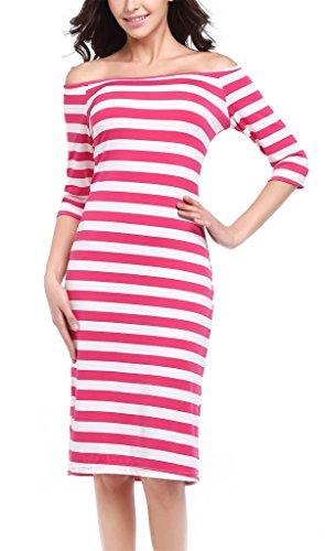 Fortuning's JDS Art und Weise Striped Muster-halbe Hülsen weg vom Schulter Bodycon Kleid für Frauen