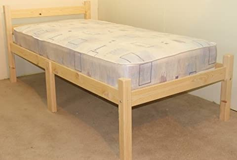 SHORT BED - Small Single 2ft 6 x 5ft 9 Wooden Pine Bed Frame - Can be used by Adults - Strong siderail support legs included - INCLUDES 15cm thick sprung mattress