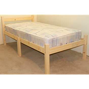 Heavy Duty Single bed with mattress 3ft Wooden Pine Bed Frame