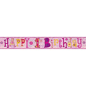 Amscan 9900012 2,7 m Happy 1st Birthday Girl - Pancarta de holograma
