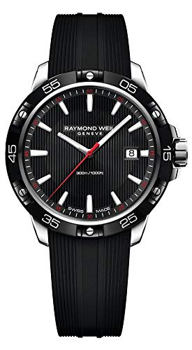 Raymond Weil Tango Steel Quartz Mens Watch Black Rubber Strap Date 8160-SR1-20001