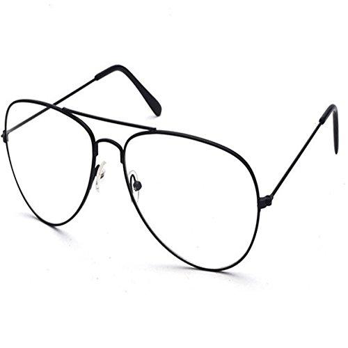 Vintage Pilotenbrille Metallrahmen Fensterglas Brille Ohne Stärke Durchsichtig Nerdbrille Sonnenbrille mit Nasenpad Retro Winddicht Sonne Brille Damen Herren (Schwarz)