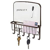 Corbeille a courrier et porte clef mural en acier - de mDesign !      Ce range courrier mural de mDesign vous sert comme porte clé mural et range courrier en même temps. La boite à clé permet le rangement le vos clés et lettres au quotidien.L...