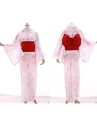 Kawaii-Story K-014 weiß rosa Schmetterling Glitzer Blumen ORIGINAL traditionell Japan Damen Kimono YUKATA OBI Gürtel Baumwolle