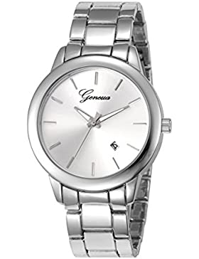 XY Fancy Damen Herren Mode Luxus Armbanduhr Quarz Analog Metall Uhr, Silber