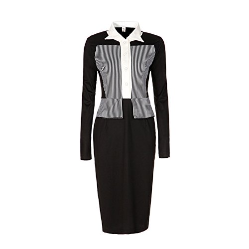 Dissa DN86 Damen Mode Knielang Abendkleid Kleid Schwarz