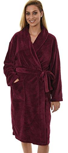 Womens genou Corel Fleece Robe cache-cœur Dressing, 7 couleurs, Petit - XXL Bourgogne