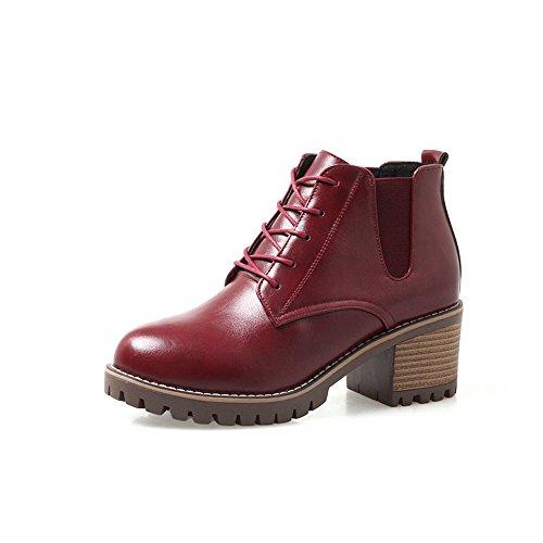 FUFU Scarpe da donna PU Stivali da Autunno per Casuale Nero Marrone Grigio Rosso 2,17in 5.5cm ( Colore : Rosso , dimensioni : EU39/UK6/CN39 ) Rosso