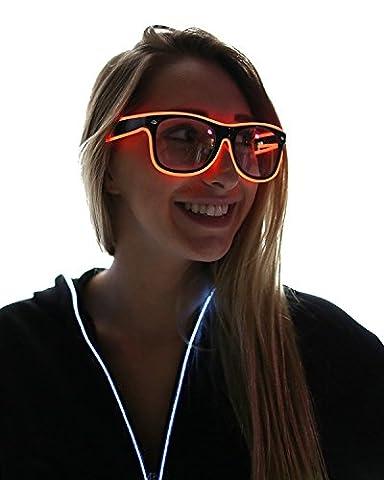 tankerstreet Light Up Brillen El Draht blinkende LED-Lichtleiste mit Akku Fernbedienung (rot)