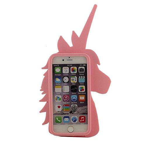 iPhone 7 Plus Coque Case, Souple Poids léger Silicone Etui Apple iPhone 7 Plus 5.5, Joli Mignonne 3D Cheval Apparence Rose
