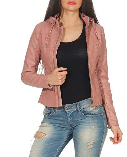 Malito Damen Jacke | Kunstleder Jacke | lässige Jacke mit Kapuze | Jacke mit Zipper - Faux Leather 5175 (rosa, M) -