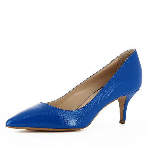 Giulia Damen Pumps Lack mit Prägung Blau 34