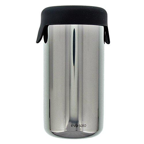 Eva Solo 5706631162135 Cocktail- und Dressing-Shaker mit Deckel, 650 ml, 822014, Edelstahl, verchromt / schwarz, 8,8 x 8,8 x 17,2 cm