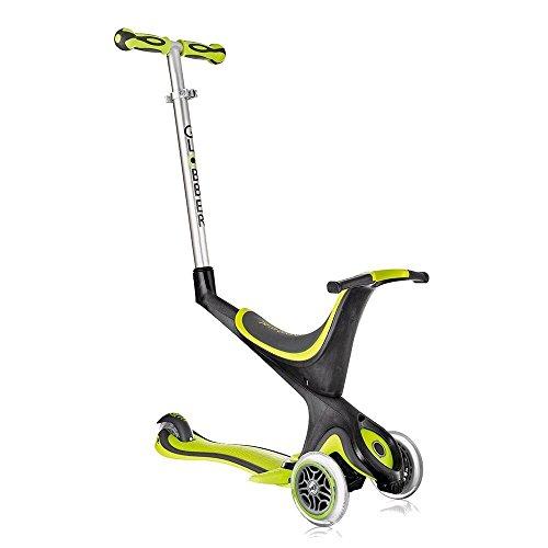 globber Free Kids 5en 1Scooter Kickboard unidad Rueda con empuje + F26Pegatinas, verde-negro