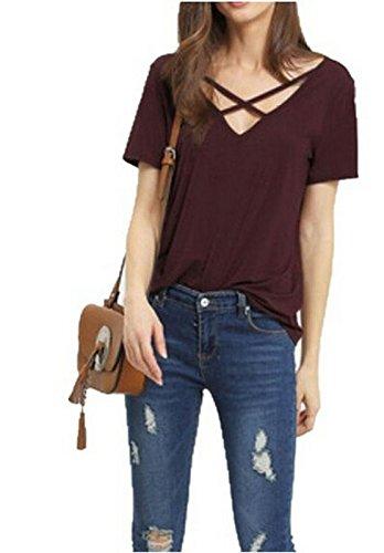 Women's Summer Cross Front Tops Deep V Neck Casual Teen Girls Tees T Shirts