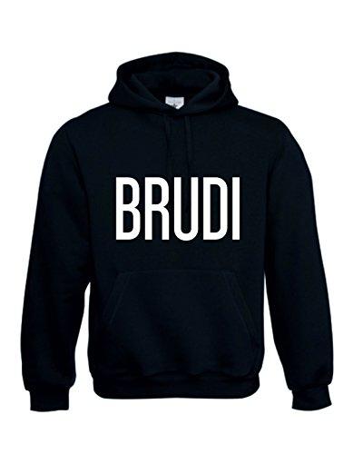 B&C BRUDI BRÜDI Bruder - Hoody Sweatshirt Sweater original Baumwolle schwarz Weiss Funny Shirt (XXL)