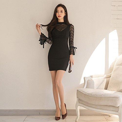 MOMO Frühling Mode Sexy Zurück Trompete Ärmel Spitze Nähte Tasche Hüfte Schlank Kleid Rock,Schwarz,S (Stricken Zurück Krawatte Kleid)