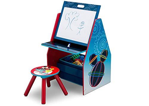 Mickey Maus 3 in 1 Holz Schreibtisch mit Hocker + Maltafel + Spielzeugregal + Spielzeugkiste Tisch Sitzgruppe Stuhl Tafel Regal Organzier (Mickey Maus) Micky