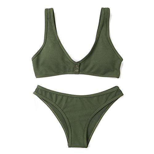 FGMJD Summer Triangle Halter Strap Sexy Gros Seins Bikini Bouton Couleur Unie Maillot De Bain Manuel Split Bikini Armée Vert_S
